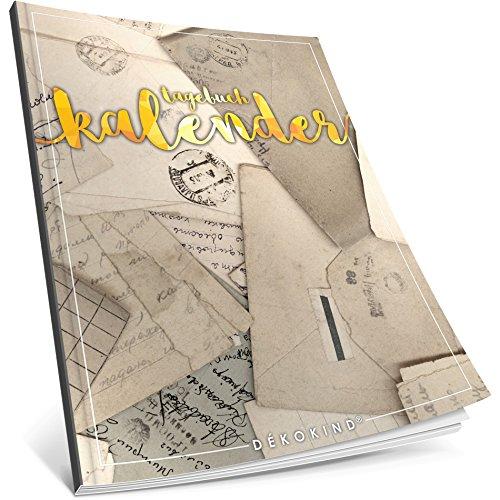 Dékokind® Tagebuch-Kalender: One Line A Day • Ca. A4-Format, Notizseiten & Zitate für jeden Monat • Kalenderbuch, Tagesplaner, Terminkalender • ArtNr. 06 Briefe • Vintage Softcover