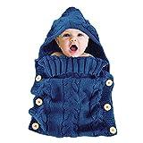 Schlafsack Baby, Yuccer Baby Schlafsack Neugeboren Winter Wickeldecke Gestrickt Wickeln Swaddle Decke für 0-6 Monat Baby (Blau, 0-6 Monate)