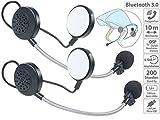 Callstel Motorrad-Freisprecher: 2er-Set Intercom-Stereo-Headsets für Motorrad-Helm, Bluetooth, 10 m (Headset für Motorrad-Kommunikation)