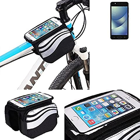For Asus ZenFone 4 Max 5.2 Zoll: Cycling Frame Bag, Head Tube Bag, Front Top Tube Frame Pannier Double Bag Pouch Holder Crossbar Bag, black-silver water resistant -