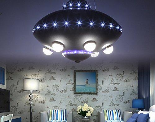 ZHANWEI Kreative Kronleuchter,Deckenleuchter LXSEHN LED Kreative Eisenschwarzes UFO-Karikatur Kinderlampe Der Jungenmädchenkinder Wohnzimmer Schlafzimmer Augenschutz Kronleuchter 40W Pendelleuchten -