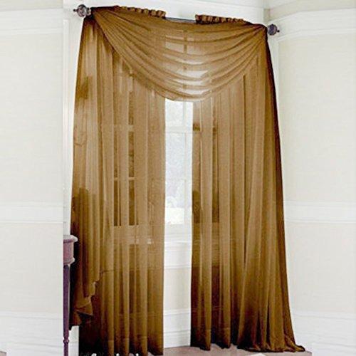 Display08colore puro vetro filato sheer finestra tenda mantovana casa camera da letto wedding decor–100cm x 200cm (su asta) (coffee)
