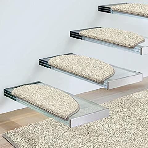 casa pura® 15x Round Shaggy Carpet Stair Tread Mats, Cream | Non-Slip | Pollution Free, Incredibly Robust for High Traffic | 23.5x65cm | Matching Rug