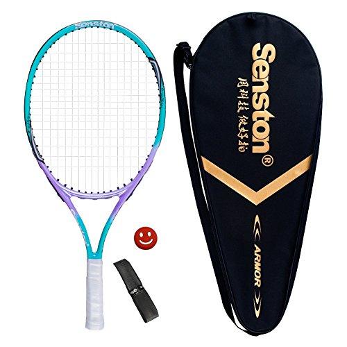Senston Kinder Tennisschläger Junior Tennis Schläger Set mit Tennistasche,Overgrip,Vibrationsdämpfer,Blau