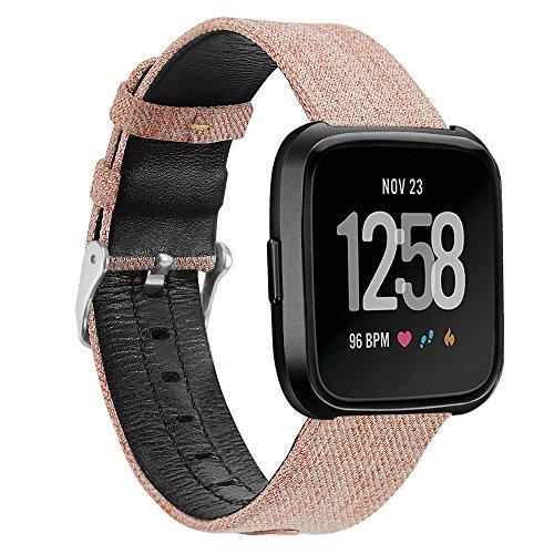 Für Fitbit Versa Ersatzarmband,COLORFUL Luxus Canvas Leder Uhrenarmband Replacement Wechselarmband watch band für Fitbit Versa,Khaki - Canvas Uhr Band Leder