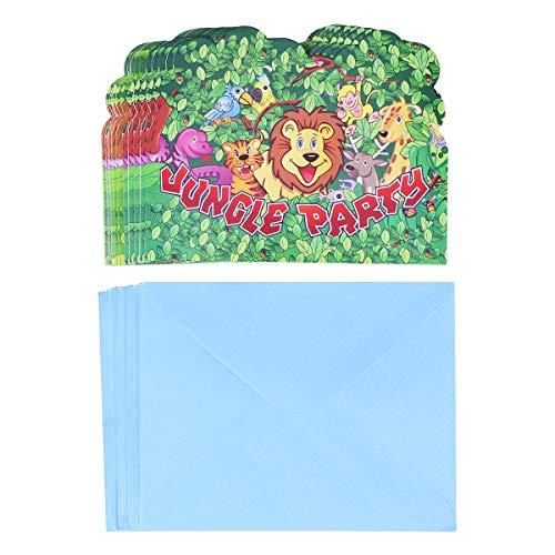 BESTOYARD 18pcs Kinder Dschungel Animal Themed Geburtstagsparty Einladungskarten