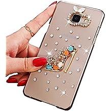 Sunroyal® Ultra Sottile Bling Duro Back Custodia per Samsung Galaxy A5 (2016) A510F, 3D Transparente Chiaro Glitter Diamanti Case Cover Posteriore Telefono Protector, Scarpe con Tacco