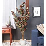 Fourwalls Decorative Polyester Artificial Dracaena Plant Without Pot (150 cm, Green, AP 150 cm DRACEANA RED-11275)