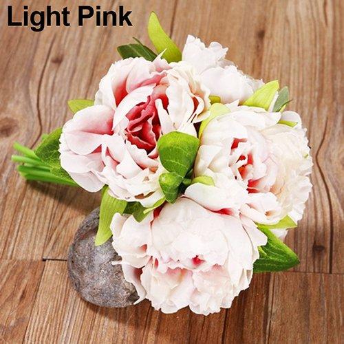 RYcoexs 1 Bouquet 5 Têtes Artificielle Fleur Faux Pivoine Fête De Mariage Mariage Boutique Décor Light Pink