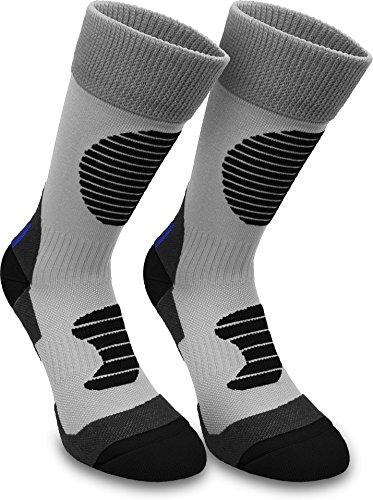 normani 3 Paar Multifunktionale Sportsocken mit Schienbein- & Fußrückenpolster - bestens geeignet als Skating- Inliner- Motorrad- & Trekkingsocken Farbe Grau/Schwarz Größe 47/50