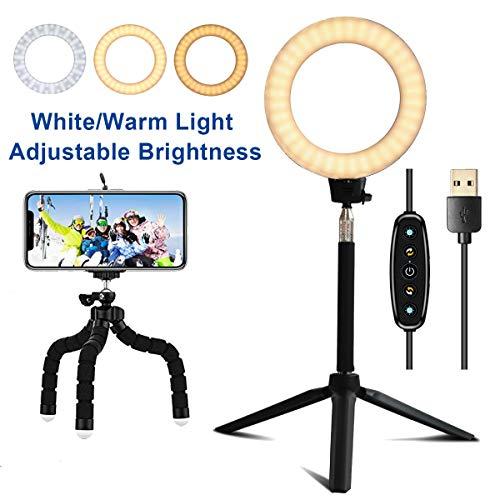 Trongle Lambony LED Ringlicht, Standleuchte, 6500 K, dimmbar, mit Stativständer, für Sel