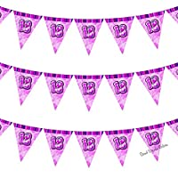 18th Glitz Pink Girls Classy Happy Birthday Age 12pcs Bunting - Ideal for Birthdays, Special Occasion, Party Decoration Bunting Flags One Sided - 12FT