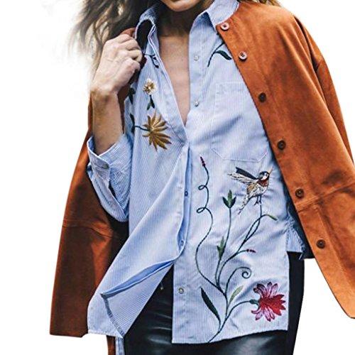 Hemd Damen Kolylong® Frauen elegante rose besticktes hemd Locker lange Ärmel bluse Herbst T-Shirt Tops (XL, Blau) (Bestickt Langen T-shirt Ärmeln)