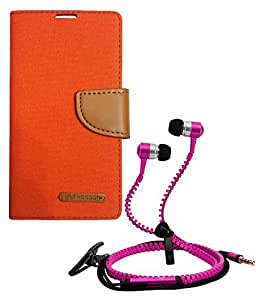 Aart Fancy Wallet Dairy Jeans Flip Case Cover for MicromaxQ380 (Orange) + Zipper Earphones/Hands free With Mic *Stylish Design* for all Mobiles- computers & laptops By Aart Store.