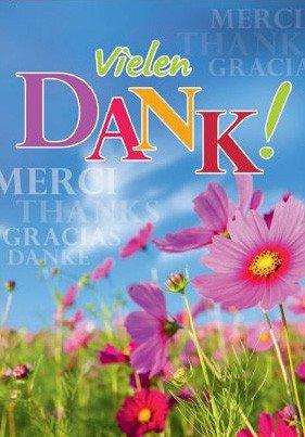A4 Dankkarte international mehrsprachig Sommerblumen