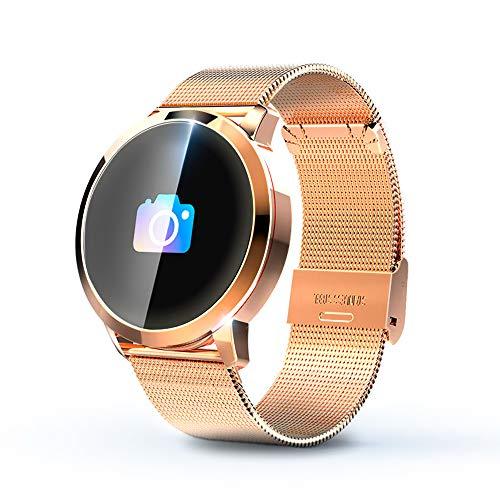 KawKaw Q8A Smartwatch Herzfrequenz IP67 Wasserdicht Fitness Tracker Pulsmesser mit Schrittzähler,Kalorienzähler,Whatsapp SMS Beachten Vibrationsalarm Multi-Sport-Tracker (Goldenes Edelstahlarmband)