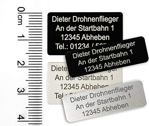 MJ Onlinehandel Drohnen-Kennzeichnung mit 3-5 Zeilen Schrift, Plakette Alu eloxiert - Kennzeichen 30x10mm oder 28x16mm, selbstklebend (Silber klein)