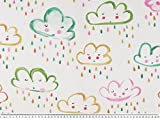 Zanderino ab 1m: Dekostoff, rosa Wolken, weiß-Mehrfarbig,