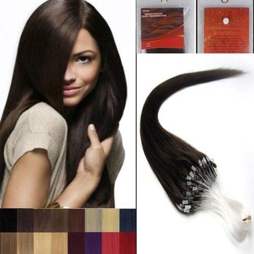 26'' Lisse Boucles Micro Anneau Perles Pointu Cheveux Humains Extensions 100S 02 brun foncé Femmes beauté Hairsalon Style Motif 0,5g/s
