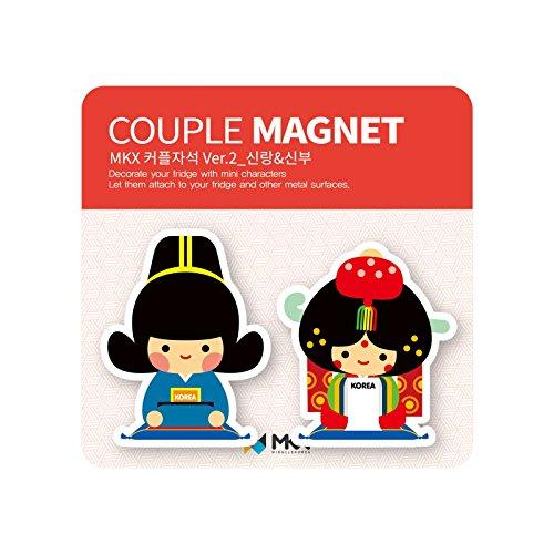 Kostüm Magnet Kühlschrank - MKX Bräutigam und Braut paar Kühlschrank Magnet Joseon-Dynastie Korea traditionelle Hochzeit Kostüm Memohalter Mehrfarbig