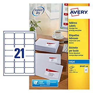 Avery J8160-100 (63.5 x 38.1mm) Self-Adhesive Address/Mailing Labels, 21 Labels per A4 Sheet