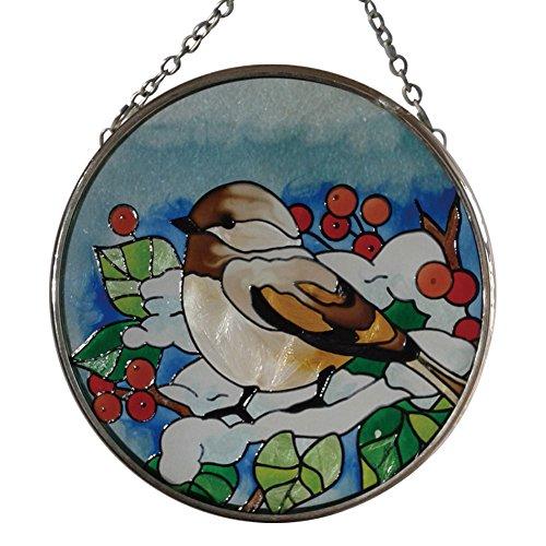 Attrape-soleil rond avec oiseau et motif plante, peint à la main, en verre 9,4 cm Diamètre