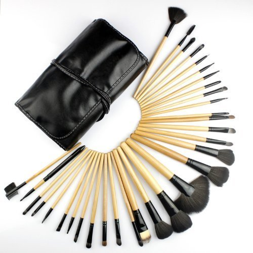 Dr K's Professional Makeup Brush Set| Pro Cosmetic-32pc Studio Pro Makeup Make Up Cosmetic Brush Set Kit w/ Leather Case - For Eye Shadow, Blush, Concealer, Etc. (Black & Wood) by Dr K's Cosmetic