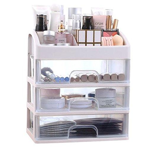 Scatola per cosmetici di piccole dimensioni, organizer per trucco, con cassetto multistrato, per bagno, camera da letto, scrivania, 28x 20x 32cm