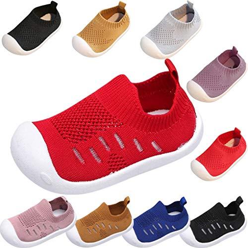 Sandalen für Kinder/Dorical Sommer Unisex Baby Jungen Mädchen Lauflernschuhe Fliegendes Weben Schuhe Mesh Atmungsaktiv Sportschuhe Freizeitschuhe Krabbelschuhe mit Weiche Sohle (9-12 Monate, Z-Rot)