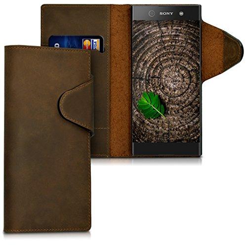 kalibri-Echtleder-Wallet-Hlle-fr-Sony-Xperia-XA1-Case-mit-Fach-und-Stnder-in-Braun