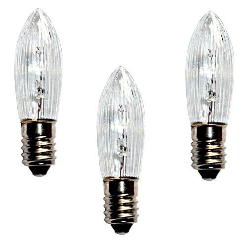 Topkerze Riffelkerze Spitzkerze 23 V / 3W | 3er Set | Ersatzlampe für 10er Schwibbogen / Lichterketten Weihnachtsbeleuchtung etc. | für innen