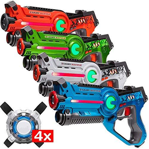 Light Battle Active Laser tag Game - 4 Pistolets de Jeu Laser (Orange, Vert, Blanc, Bleu) + 4 Laser Tag Plastrons - LBAPV2441234