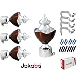 JAKABA Stainless Steel Curtain Finials with Supports (Multicolour) - Pack of 8