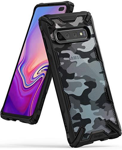 Ringke Fusion-X DDP fürs Galaxy S10 Plus [Camo Black Schwarz] Verbessert Silikon TPU Stoßfest Black Rahmen Militär Muster Schutzhülle fürs S10+ Galaxy Camo