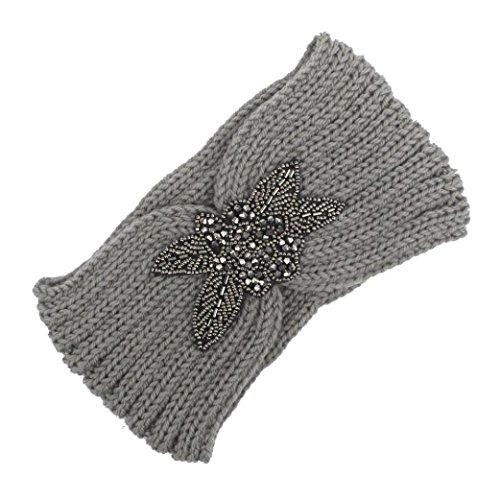 BZLine® Frauen stricken Strick Stirnband Winter Warm Haarband Wrap Pink (Grau)