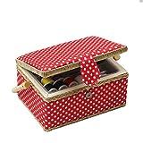 D & D Nähset-Korb für zu Hause, für Aufbewahrung und Organisation, tragbar, für Nadeln, Garn usw., Nähkorb mit Zubehör M rot