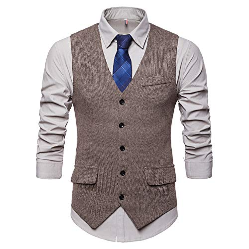Weste Slim Fit Formelle Business Smoking Mantel, Männer Blazer für Hochzeit und Party Casual Schlanker Knopf-Hochzeitsfest-Kleid Vest Jacke Suit Regular Fit Mens Top Khaki S-XXL ()