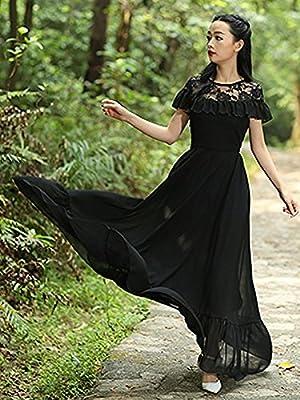 Raabta Fashion Women's Georgette Long Dress (Black, Medium)