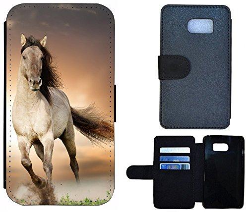 Flip Cover Schutz Hülle Handy Tasche Etui Case für (Apple iPhone 4 / 4s, 1005 Pferd Braun Weiß Hengst) 1005 Pferd Braun Weiß Hengst