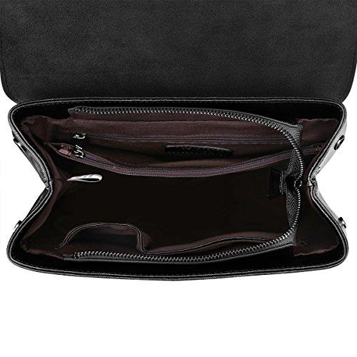 S-ZONE Zaino di cuoio delle donn Retro Chic Daypack Preppy Commuter Bag (Nero) Nero
