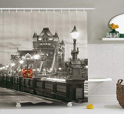 JIEKEIO House Decor Shower Curtain, London Themed Decor Tower Bridge in The Famous City Urban Life Scenery European Picture, Fabric Bathroom Decor with Hooks, 60 * 72inchs Long, Taupe Grey Red