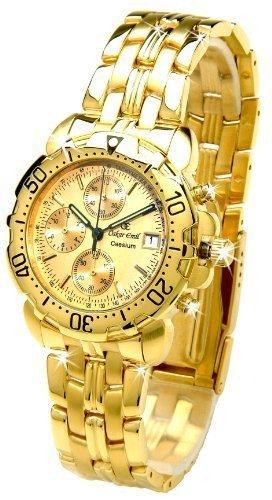 Oskar Emil Caesium 1119G - Reloj de Lujo Oro Cronógrafo para Hombre, Con Esfera Dorada