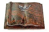 MEMORUM Grabmale Grabbuch, Grabplatte, Grabstein, Grabkissen, Urnengrabstein, Liegegrabstein Modell Antique 40 x 30 x 8-9 cm Aruba-Granit, Poliert inkl. Gravur (Aluminium-Ornament Taube)