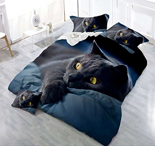 4Piece Dark Night schwarz Katze 3D Bettwäsche-Set, Animal Prints Bettbezug Set Double Größe Tröster (Schwarz Tröster)