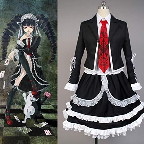 MX kingdom Uniform Anime Matrosen Kostüm Danganronpa Cosplay Celestia Ludenberg Kostüm Damen Kleid Halloween Kostüm Party Outfit Anzug (Top + Shirt + Fliege + Gothic Kleid + Kopfbedeckung + Socken)
