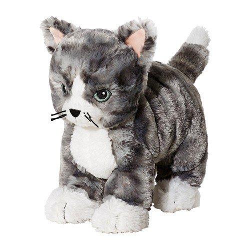 IKEA LILLEPLUTT Stofftier Katze; in grau