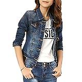 Jeansjacke Damen Lange Ärmel Vintage Slim Fit Kurz Denim Jacke Casual Mantel Beiläufige Outwear Blau S