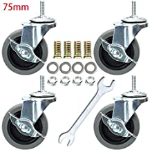 DICASAL 3 Inch Side-Brake Stem Casters Wheels 360 Degree Swivel Castors Soft Wheel No Noise for Wooden Floor funiture Carts Pack of 4 (Grey, M8)