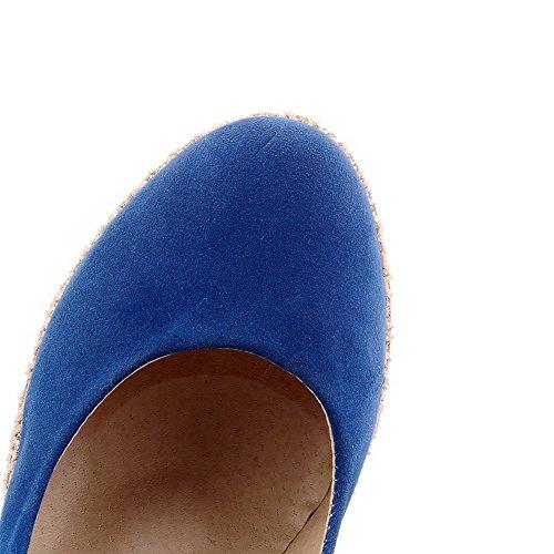 VogueZone009 Donna Tirare Punta Chiusa Punta Tonda Tacco Alto Pelle Di Mucca Puro Ballerine Azzurro