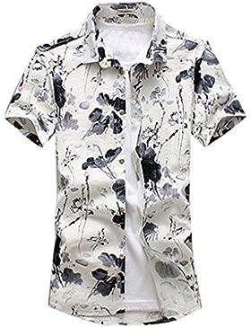 YuanDian Uomo Casual Maniche Corte Camicia Fiori Stampa Risvolto Loose Camicie